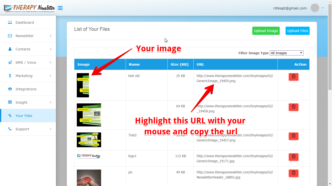 You will now see your image listed under Your Files