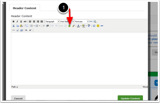 Your Header Content Editor Box